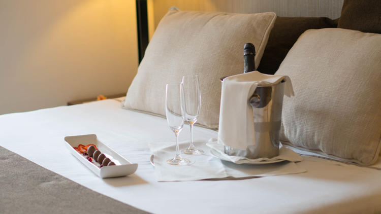 Romantic getaway with champagne and truffles